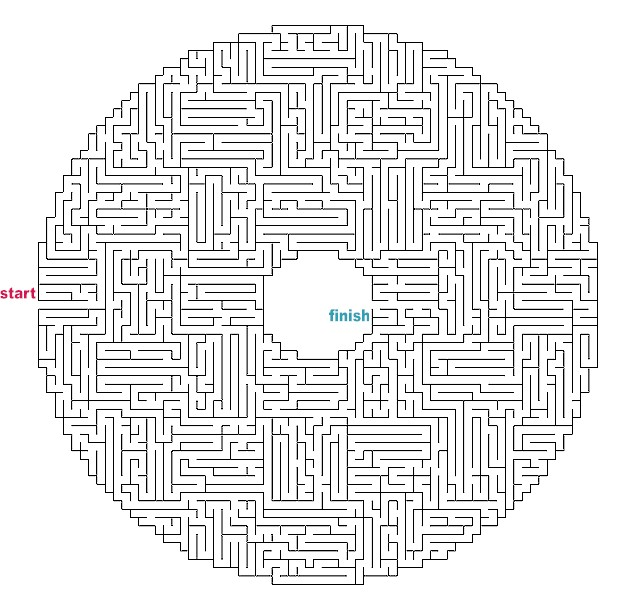 hard maze Colouring Pages