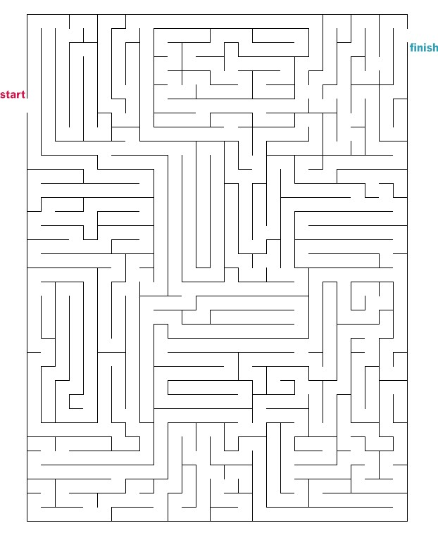 Selective image intended for printable mazes medium