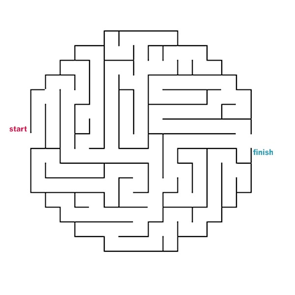 picture about Vale Design Free Printable Maze referred to as Mazes in direction of Print - Basic Circle Oval Mazes